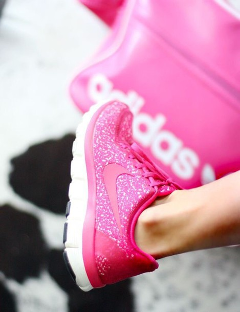 shoes hot pink glitter nikes