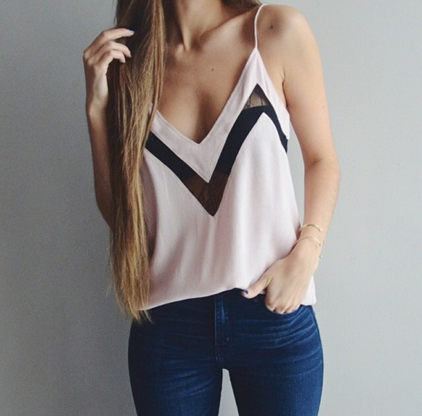 tank top top light pink blouse blouse pink light pink pastel pastel pink gold bracelet or silver jeans denim girly black and white top cami top white top blue jeans summer top