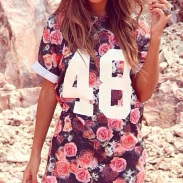 t-shirt floral floral hipster shirt cute