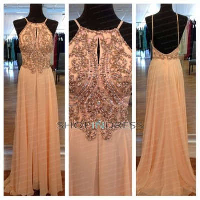 Line spaghetti straps floor length chiffon blush 2014 prom dress with beaded npd1422 sale at shopindress.com