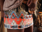 geometric,pattern,skirt,tribal pattern,metallic,beaded,sequins,aztec,orange skirt,glitter,actec type,pretty,swag,summer,summer dress,hippie,hipster