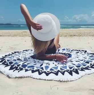 scarf round beach towel beach towel printed towel hat white hat sun hat swimwear swimwear two piece black swimwear bikini black bikini summer beach