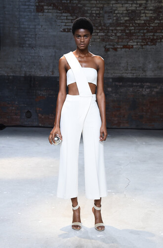jumpsuit mulhier pants top asymmetrical sandals ny fashion week 2016 white all white everything crop tops bandeau runway model