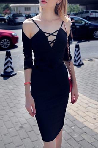dress strappy fashion style black elegant sexy midi dress off the shoulder