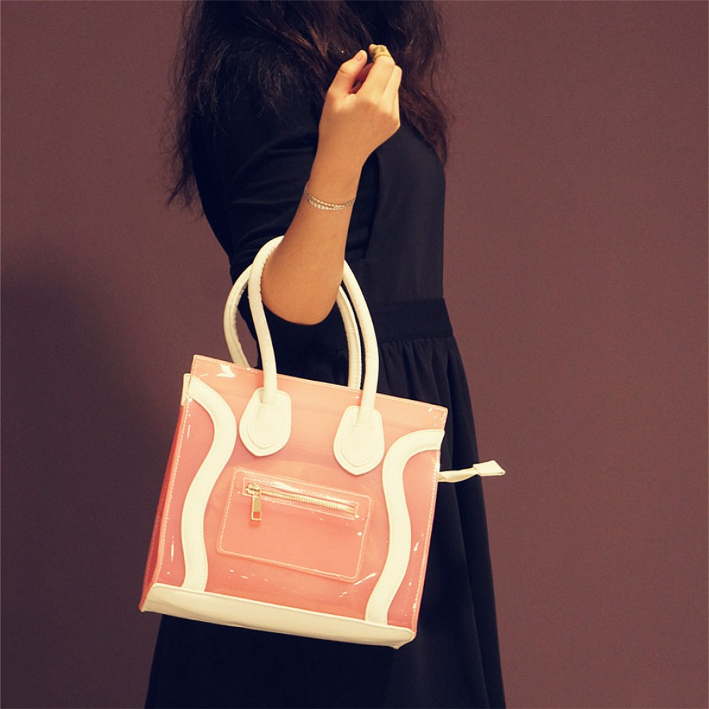 Pink jelly candy tote with white handle