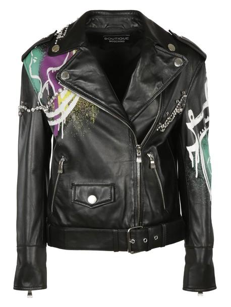 BOUTIQUE MOSCHINO jacket biker jacket leather black