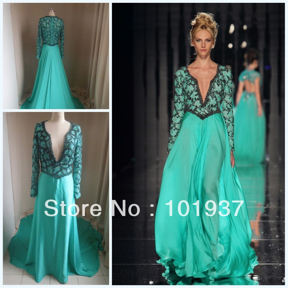 Abed Mahfouz Turkey Kaftan Evening Dress With Long Sleeves And V Neck Designer Summer Chiffon Beaded Runway Actual Photo BO1831-in Evening Dresses from Apparel & Accessories on Aliexpress.com