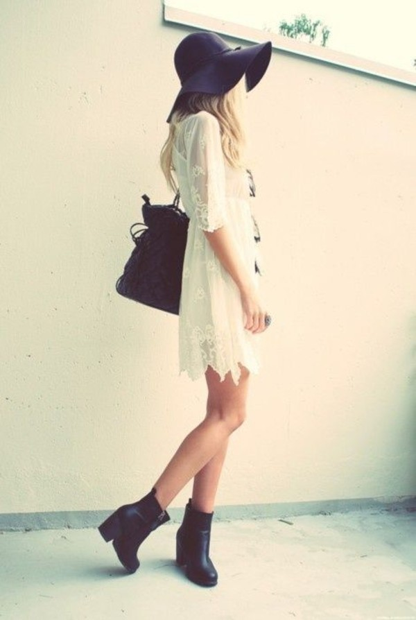 dress white lace hat shoes