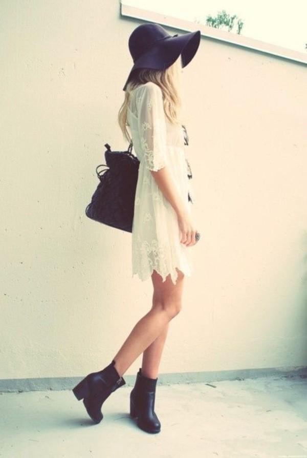 dress white lace hat shoes