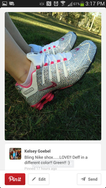 9ed221820022 shoes bling nike shox pink blue tennis shoes diamonds swarovski