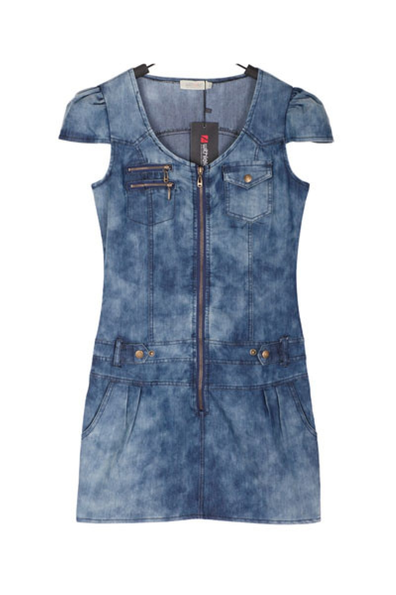 V Neck Short Sleeve Denim Slim One-piece Dress,Cheap in Wendybox.com
