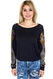 leopard print,studded sweater,scoop neck,long sleeves,black and leopard,www.ustrendy.com