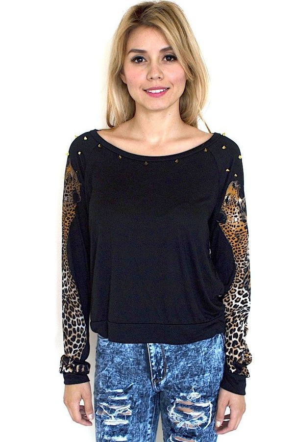 leopard print studded sweater scoop neck long sleeves black and leopard www.ustrendy.com