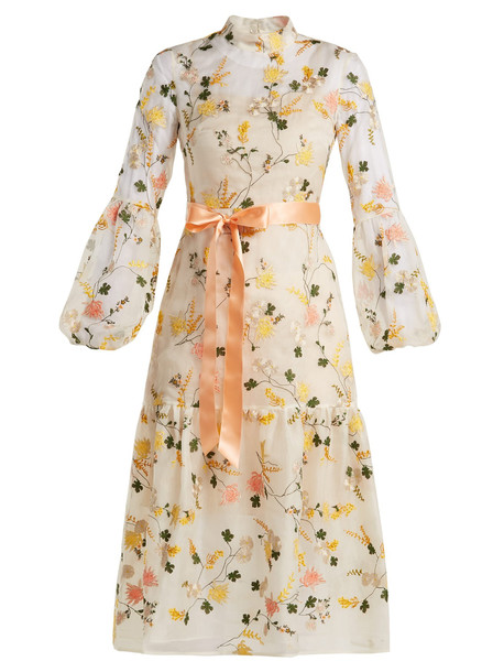 gown floral print white dress