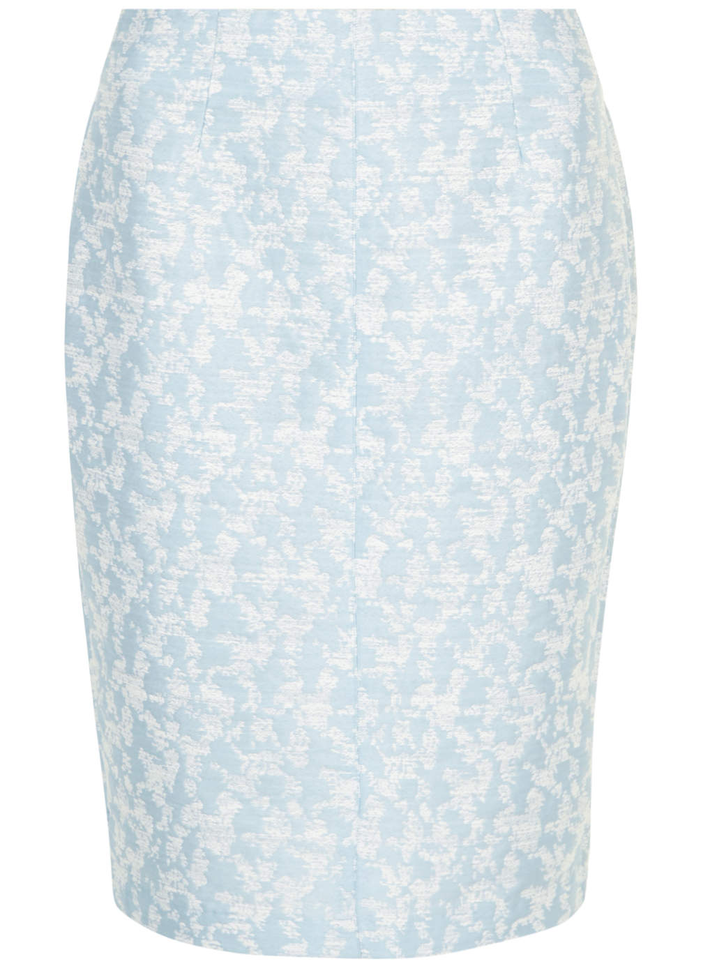 Blue Jacquard Pencil Skirt