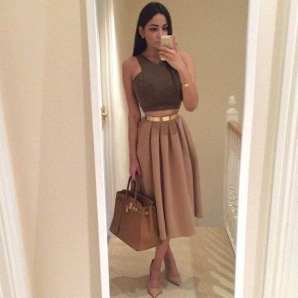 skirt tan skirt top long skater skirt long skirt brown cute