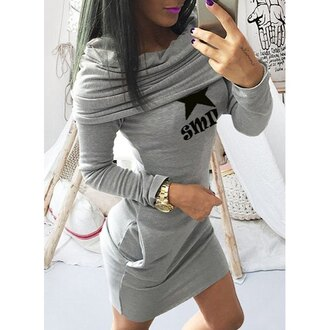 dress off the shoulder bodycon dress grey grey dress rose wholesale fashion style long sleeves