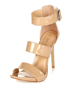 Stone patent triple strap heeled sandals