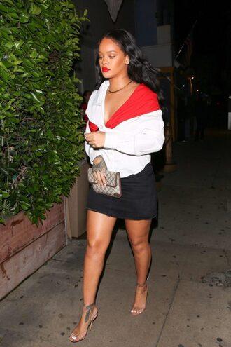 shoes mules mini skirt rihanna shirt asymmetric shirt asymmetrical top skirt