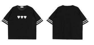 t-shirt black cute grunge print heart heart print white grunge t-shirt
