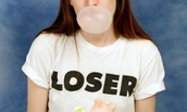 t-shirt,white,black,quote on it,writing,loser,short sleeve,twitter