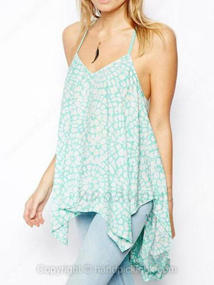 mint light blue tank top ruffles ruffled ruffle ruffle tank high low mint tank