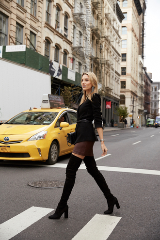 mindbodyswag blogger jacket skirt shoes bag belt jewels sunglasses boots over the knee boots blazer