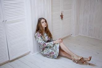 acid coke blogger sandals patterned dress long sleeve dress spring dress