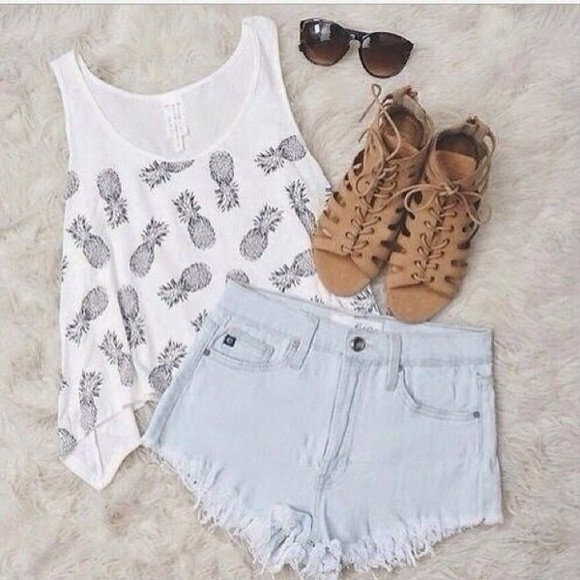 tank top top white tank top pineapple print High waisted shorts highwaisted denim shorts faded denim sun glasses, sweater, jewels, acne, summer summer outfits summer shorts tropical t-shirt shoes