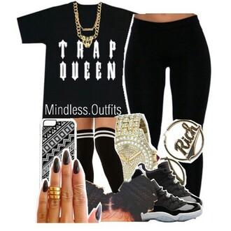 shirt black white gold dope cute trap queen gold chain necklace black jeans i phone case gold watch box braids black jordans jordans socks black nails shoes