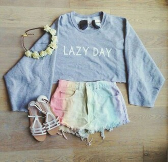 sweater blue lazy day large oversize shirt jeans shorts