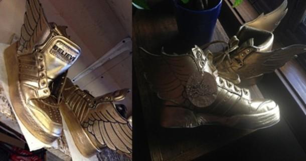 shoes justin bieber adidas believe gold belieber