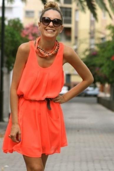 dress coral dress orange dress red dress summer