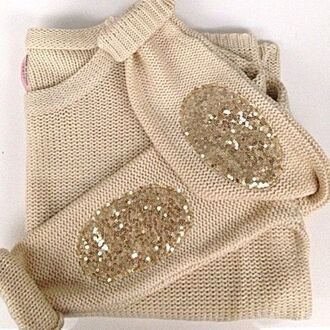 sweater beige gold sequins sweater with patches sequins cream glitter elbow patches pajettes jumper clothes gold ellbow gold sequin shirt shirt t-shirt blouse fall sweater winter sweater fashion style cute girly top gold glitter beige sweater