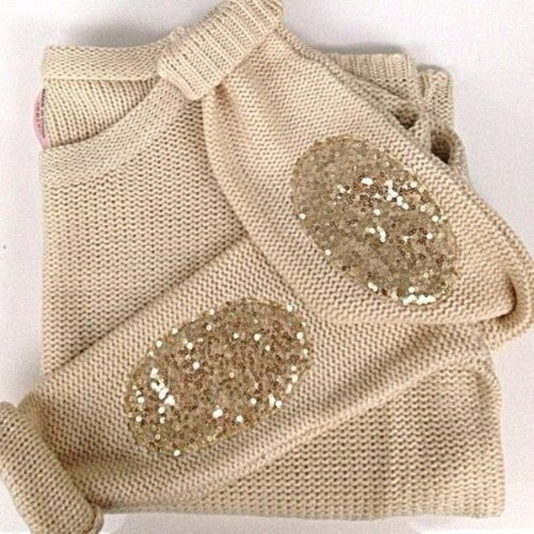 sweater beige gold sequins sweater with patches sequins cream glitter elbow patches pajettes jumper clothes gold ellbow gold sequins sequin shirt shirt t-shirt blouse fall sweater winter sweater fashion style cute girly elbow patches top gold glitter beige sweater