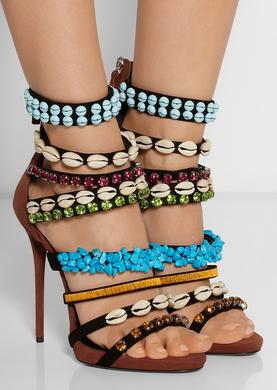 Coline embellished camel suede sandals