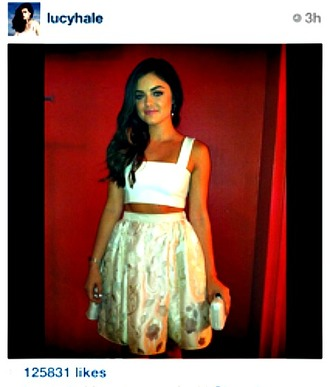 dress cropped white metallic lucy hale cut-out dress shirt tank top skirt
