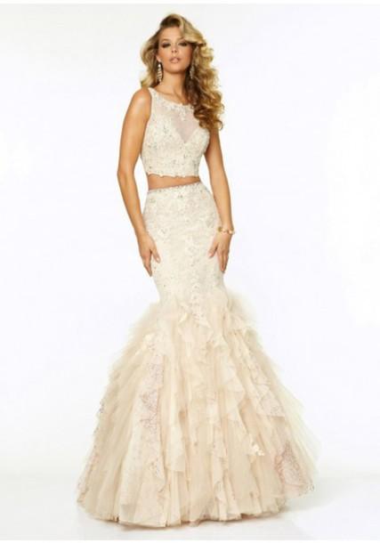 dress two-piece two piece prom dresses fishtail 2015 prom dress champagne dress champagne prom dress lace dress lace evening dress