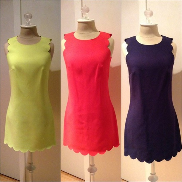dress scalloped red dress navy dress yellow dress