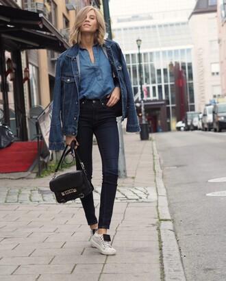 the fashion eaters blogger jeans denim denim shirt denim jacket chambray satchel bag mini bag