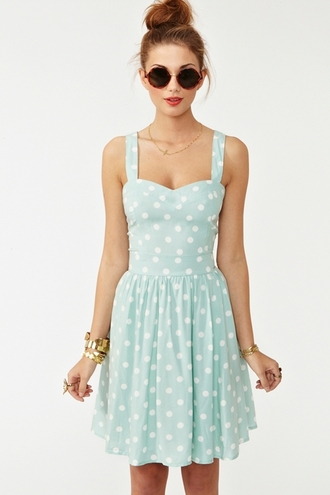 dress polka dots blue dress summer dress clothes baby blue teal dress mint summer