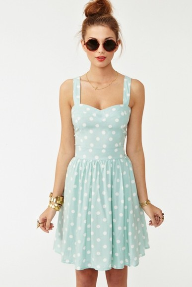 dress teal dress polka dots, polka dots blue dress summer dress clothes polka dot baby blue poka dots