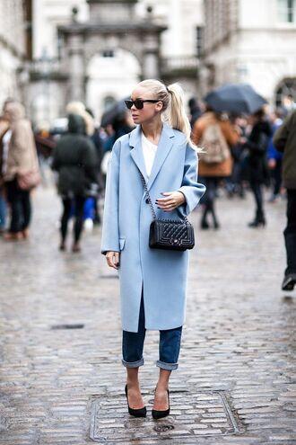 coat sunglasses blue coat boyfriend jeans black stilettos blogger