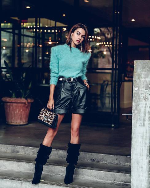 shorts leather shorts High waisted shorts boots suede boots handbag leopard print sweater knitted sweater earrings belt