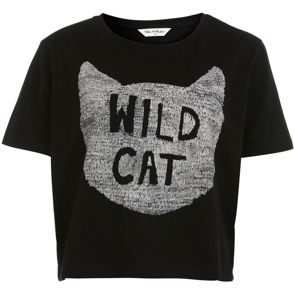 Black 'Wild Cat' Tee - Miss Selfridge - Polyvore