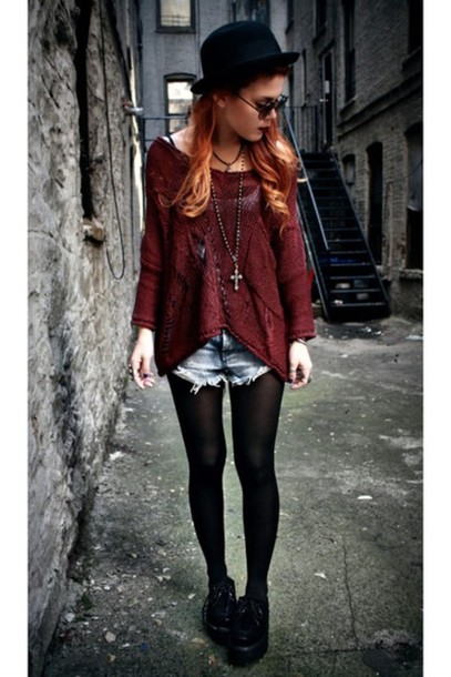 sweater grunge burgundy crochet