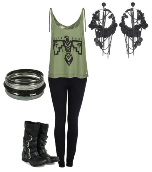 leggings shirt tank top earrings combat boots bangles punk shoes