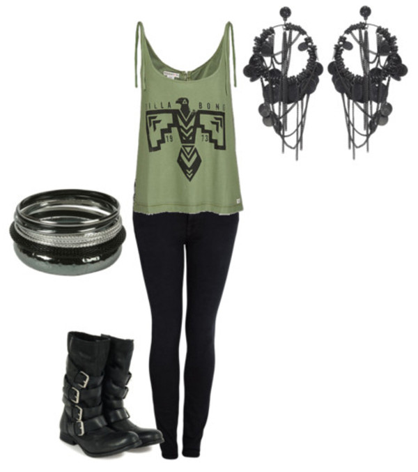 shirt tank top earrings combat boots bangle leggings punk shoes