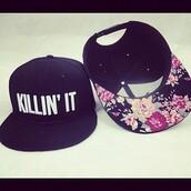 hat,floral,snapback,dope,swag,cute,roses,flowers,kill,kpop