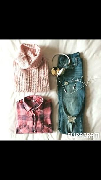 shirt pink jumper pink shirt jeans tartan shirt